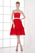 Strapless Empire Pleated Contrast Color Belt Chiffon Knee length Formal Bridesmaid Dress