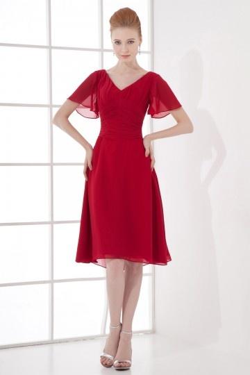 Elegantes Knielanges Rotes Chiffon Brautjungferkleid mit Ärmel Persun