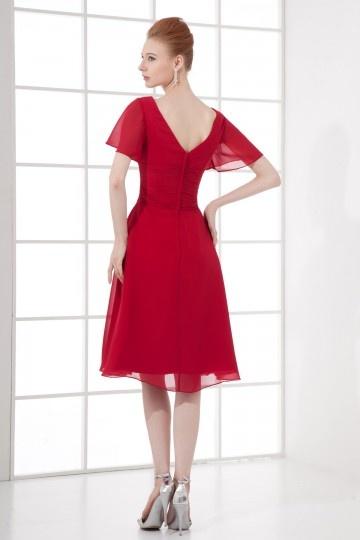 Robe cocktail de mariage rouge avec manches courtes - JMRouge.fr