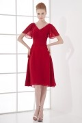 A line V neck Lotus Sleeve Empire Ruched Chiffon Knee length Formal Bridesmaid Dress
