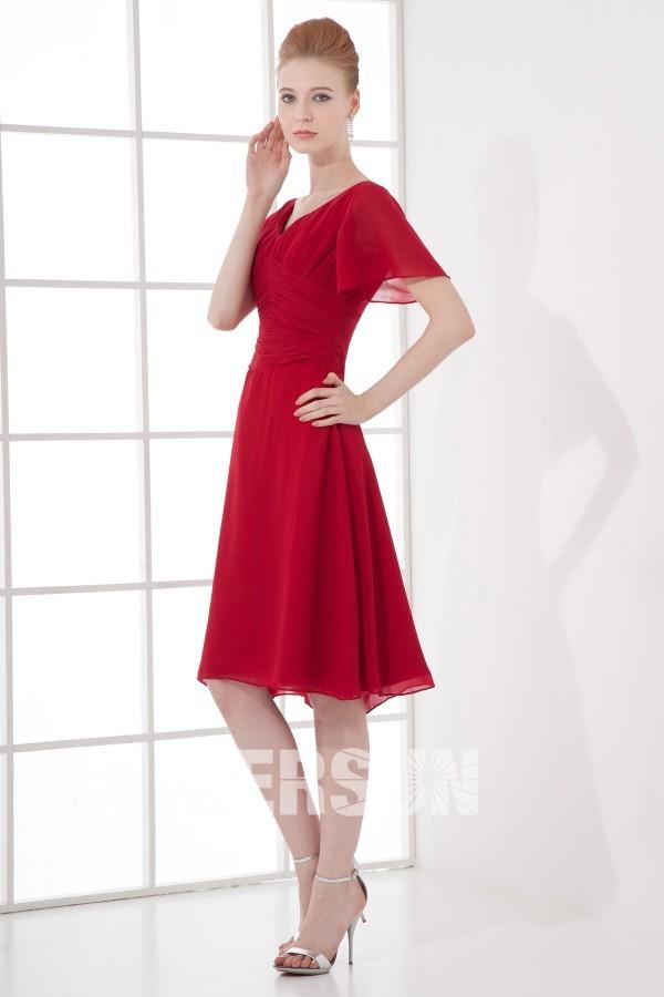 Robe cocktail de mariage rouge avec manches courtes