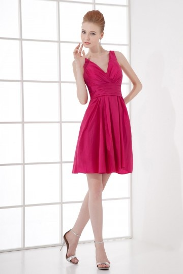 Dressesmall Simple A line V neck Empire Waist Taffeta Short Bridesmaid Dress