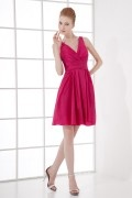 Simple A line V neck Empire Waist Taffeta Short Formal Bridesmaid Dress