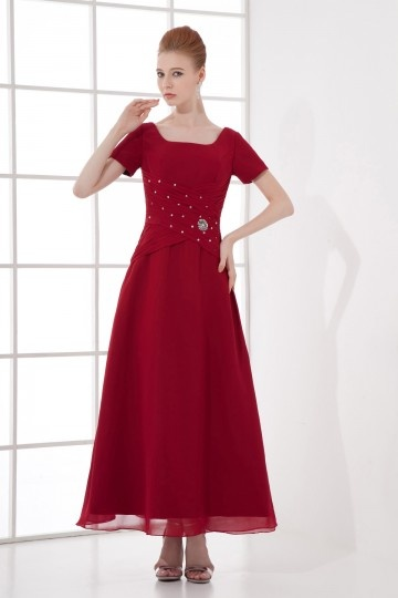 Dressesmall A line Square Neck Short Sleeve Beaded Chiffon Ankle length Formal Bridesmaid Dress