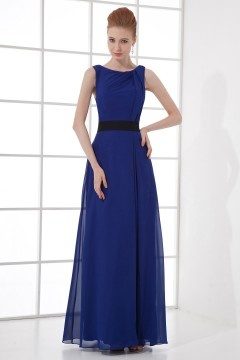 Noble Draping Backless A line Sash Chiffon Long Bridesmaid Dress