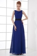 Noble A Line Boat Collar Belt Chiffon Long Bridesmaid Dress