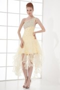 Delicate A line One shoulder Beading Flouncing Tassel Organza Short Formal Dress