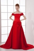 Elegant A line Boat Collar Knowbow Waist Band Satin Trailing Formal Dress