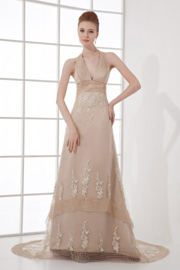 Dressesmall Sexy Halter V neck Backless Applique Gauze Trailing School Formal Dress