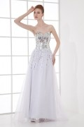 Gorgeous A line Sweeteart Square Sequins Beaded Long School Formal Dress