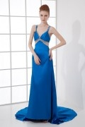 Sexy and Elegant A line V neck Hollow Beading Fishtail Trailing Formal Dress