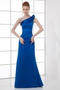 Elegant One shoulder Lotus Leaf Pleats Belt Long Formal Bridesmaid Dress