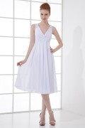 Simple V neck Empire Beaded Ruching Chiffon Knee length Formal Bridesmaid Dress