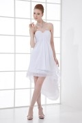 A line Strapless Beaded Ruching Chiffon Short Cocktail Dress
