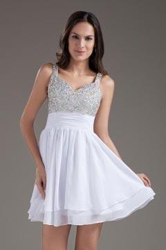 Sequins Empire V neck Mini White Cocktail Dress Cheap