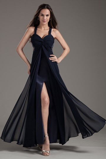 Dressesmall Sexy Straps Sweetheart Front Split Empire Chiffon Black Formal Dress