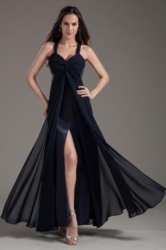 Vestidos de Baile preto fenda frontal Império