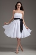 Charming Chiffon Strapless Pleats A Line Bridesmaid Dress