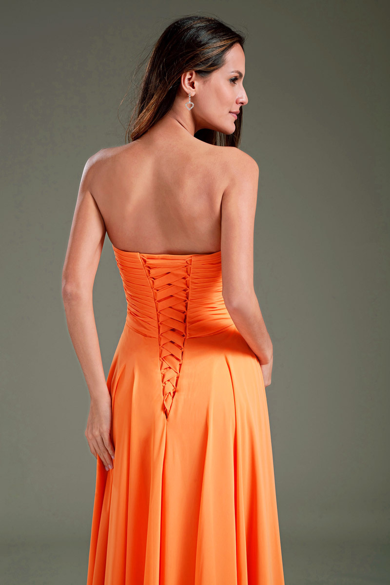 orange long chiffon formal dress