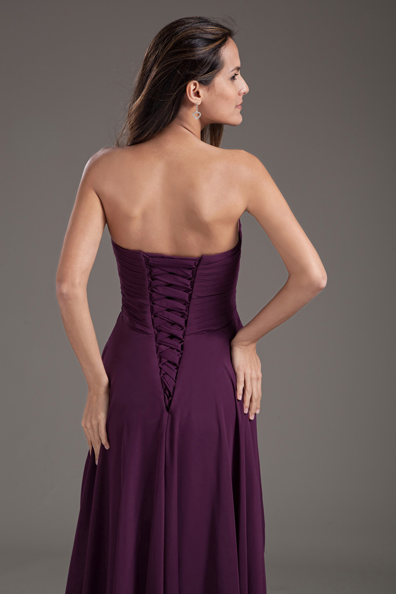 purple long chiffon formal dress back