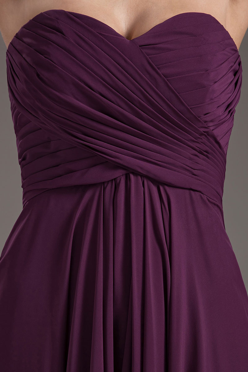 purple long chiffon formal dress chest details