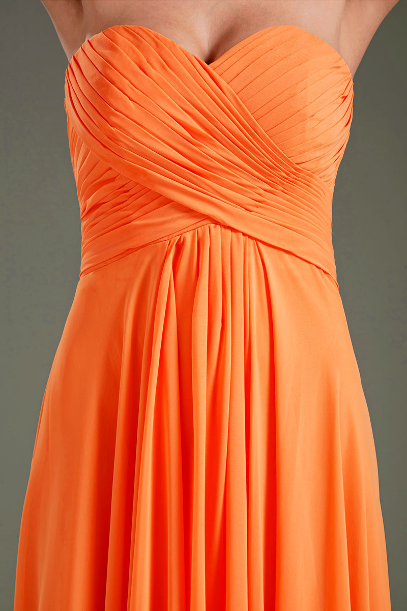orange long chiffon formal dress detail
