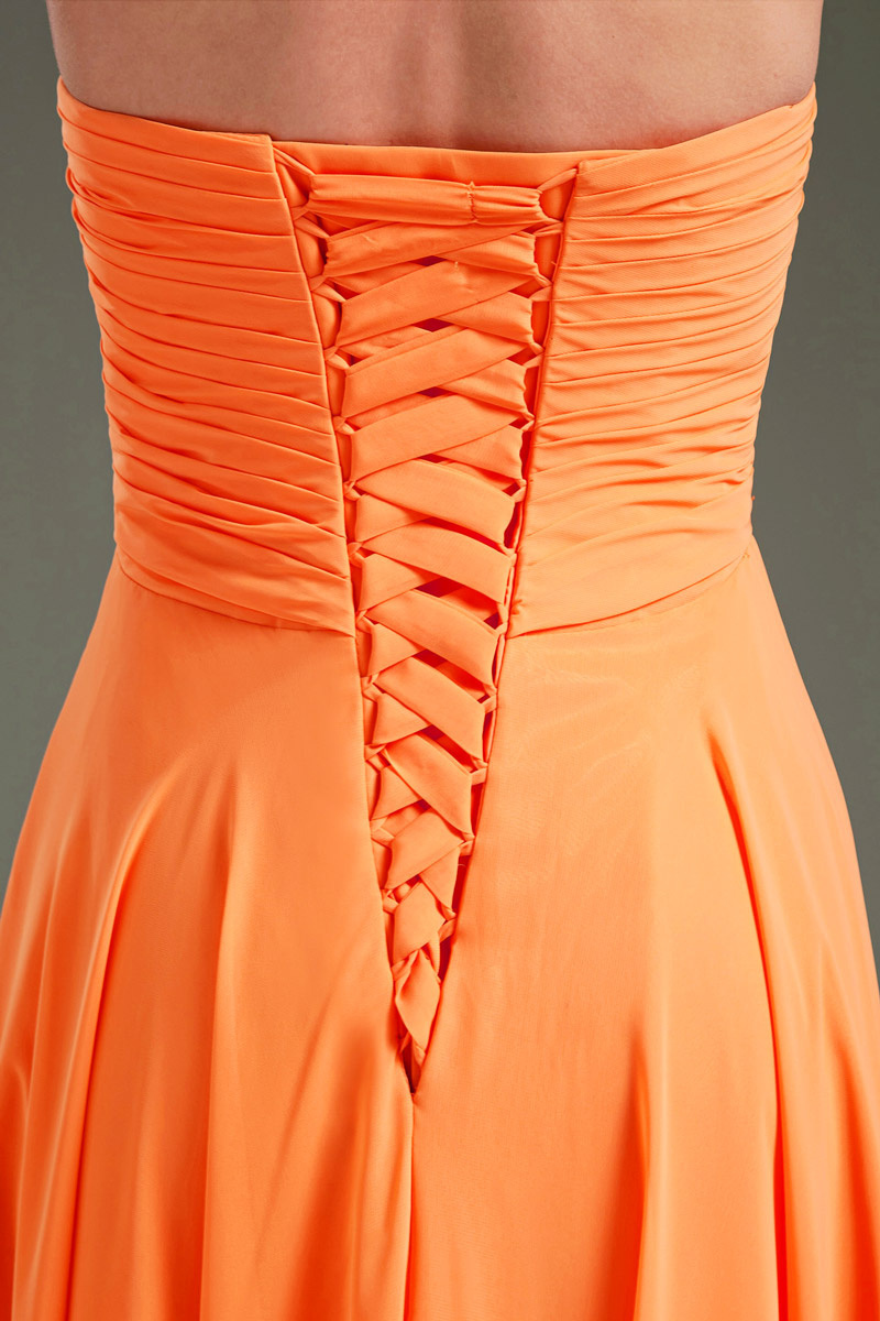 orange long chiffon formal dress back detail