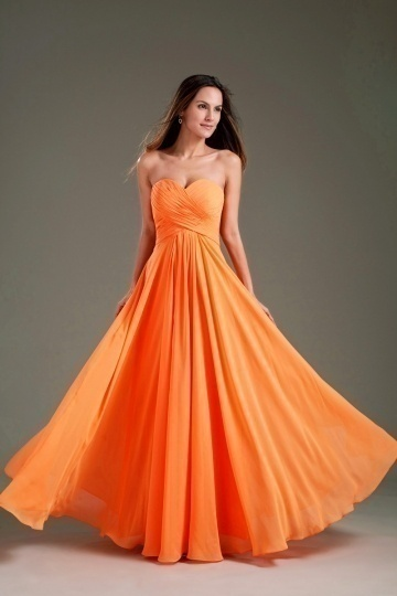 Dressesmall Simple Ruched Sweetheart Strapless Empire Chiffon Long Formal Dress