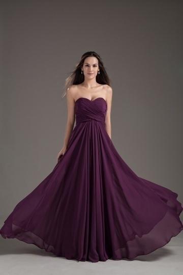 Simple Sweetheart Strapless Pleated Chiffon Bridesmaid Dress