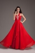 Jeweled Ruched One Shoulder Empire Chiffon Red Evening Dress