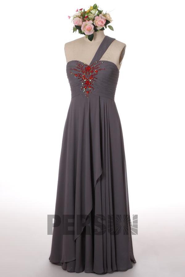 Robe soirée asymétrique plissée ornée de bijoux avec laçage au dos