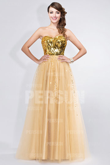 Dressesmall Sequined Sweetheart Strapless Tulle Golden Princess Formal Dress