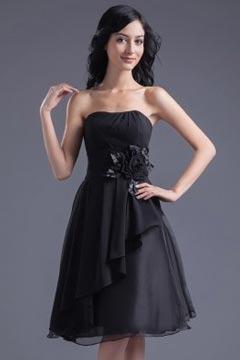 Southport Black Strapless Applique Bridesmaid Dress