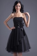 Simple Chiffon Black A Line Knee Length Ruffles Bridesmaid Dress