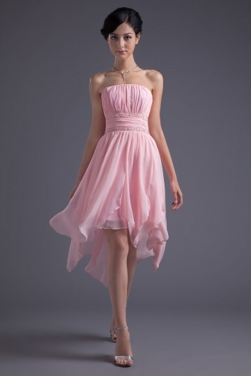 Dressesmall Strapless Pleats Beadings A line Fantastic Chiffon Cocktail Dress