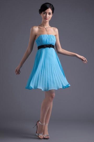 Vestido de madrinha Império plissado em Chiffon azul sem manga