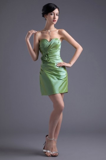 Dressesmall Elegant Sweetheart Column Taffeta Green Flower Formal Bridesmaid Dress