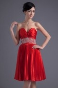 Sweetheart Beading Ruching A line Attractive Elastic Woven Satin Formal Bridesmaid Dress