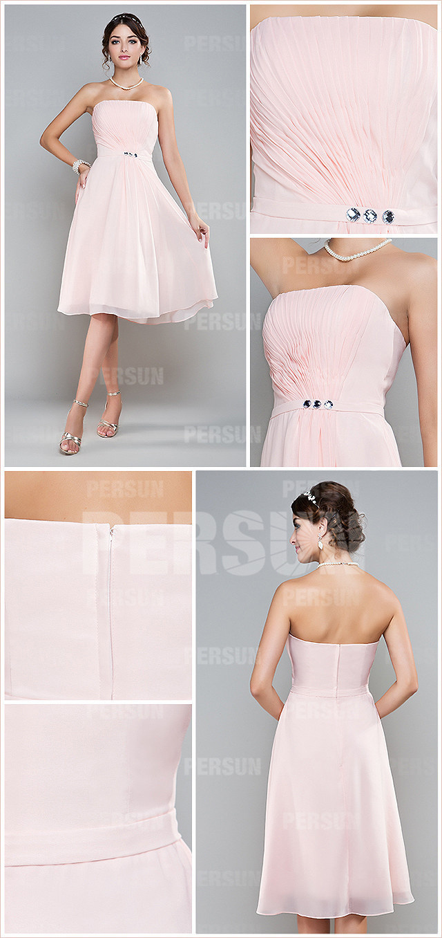 pink strapless pleats beading a line chiffon bridesmaid dress details