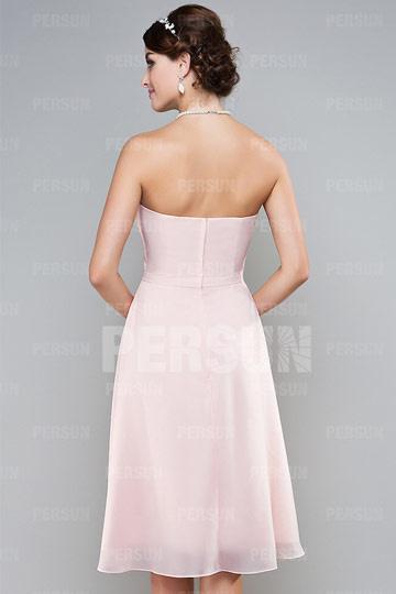 Schlichtes Rosa Tragerlos A Linie Knielang Abendkleider Aus Chiffon Zhy138 78 59 Persunshop De