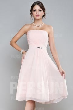 Spilsby Appealing Chiffon Strapless Pleats Beading Bridesmaid Dress