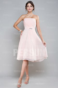 Strapless Pleats Beaded A line Appealing Chiffon Bridesmaid Dress