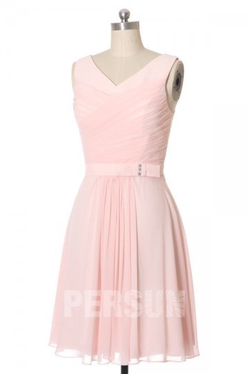 Dressesmall V Neck Knee Length Chiffon Pink Formal Dress