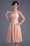 Strapless Pleats Beading A line Marvellous Chiffon Formal Bridesmaid Dress