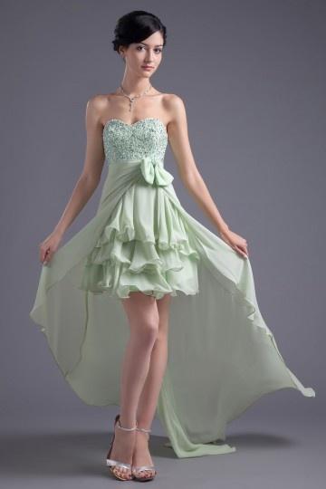 Dressesmall Sweetheart Green High Low Asymmetrical Chiffon Formal Bridesmaid Dress