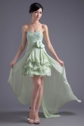 Sweetheart Green High Low Asymmetrical Chiffon Formal Bridesmaid Dress