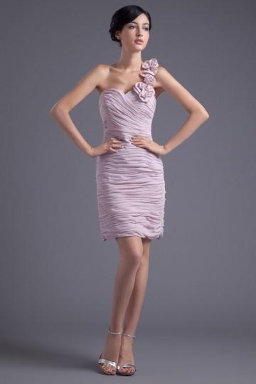 Dressesmall Modern Column One Shoulder Chiffon Pink Beading Formal Bridesmaid Dress
