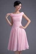 Pink Boat Neck Cap Sleeves Knee Length Ruching Bridesmaid Dress
