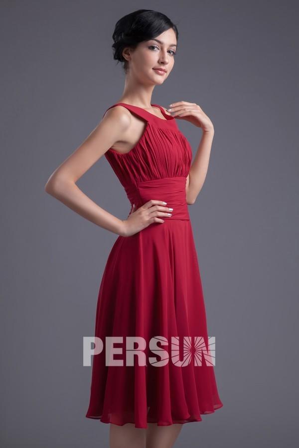 Robe mi longue rouge plissée à col oval