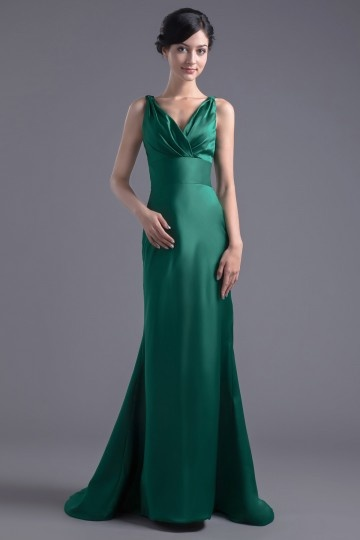 Dressesmall Simple Green V Neck Bruch Train Mermaid Formal Bridesmaid Dress